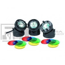 LUCES SUMERGIBLES 3PZ C/TRANSFORMADOR JPL1-3 LANWN INDUSTRY*